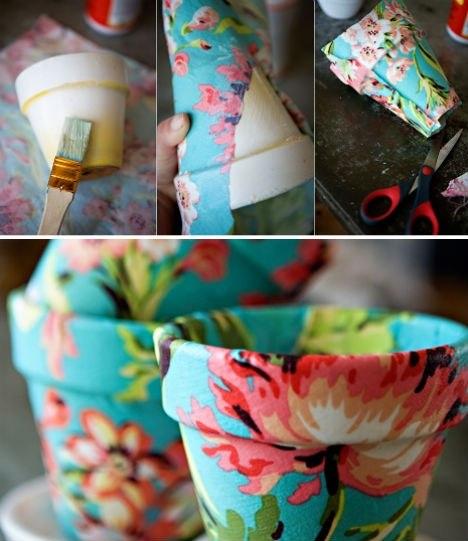 украсить цветочный горшок своими руками