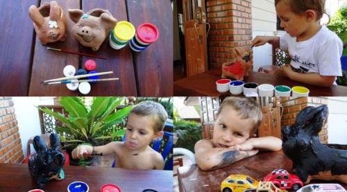 Чем занятся на даче с ребенком - роспись по керамике (1)