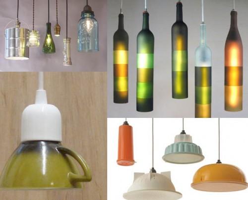 Лампы из старых бутылок и другой посуды