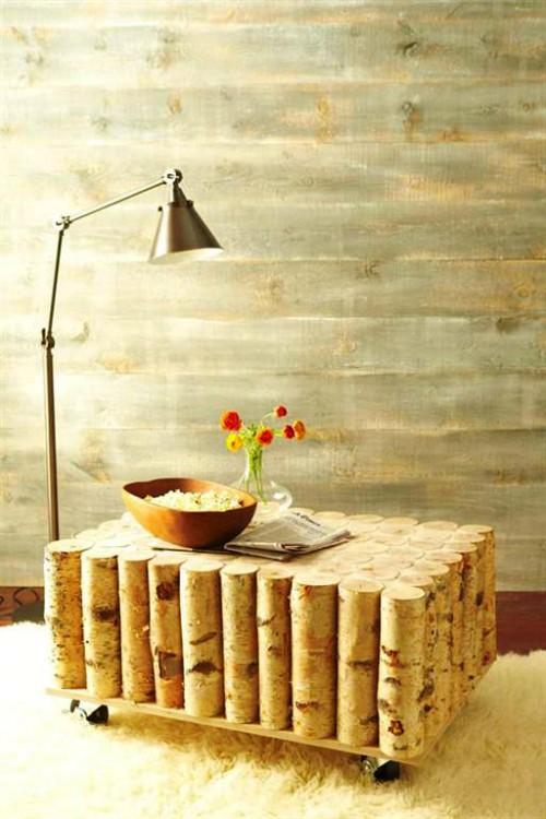 Поделки из поленьев - как сделать стол для дачи (1)