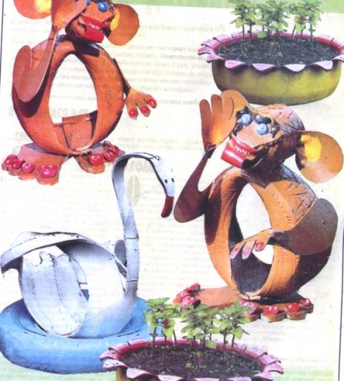 Как украсить двор - поделки из покрышек своими руками (8)