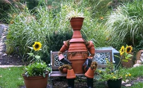 Поделки из цветочных горшков - как использовать ненужные вещи (9)