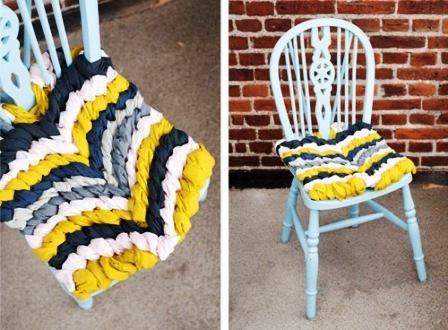 Как связать коврик на стул (23)